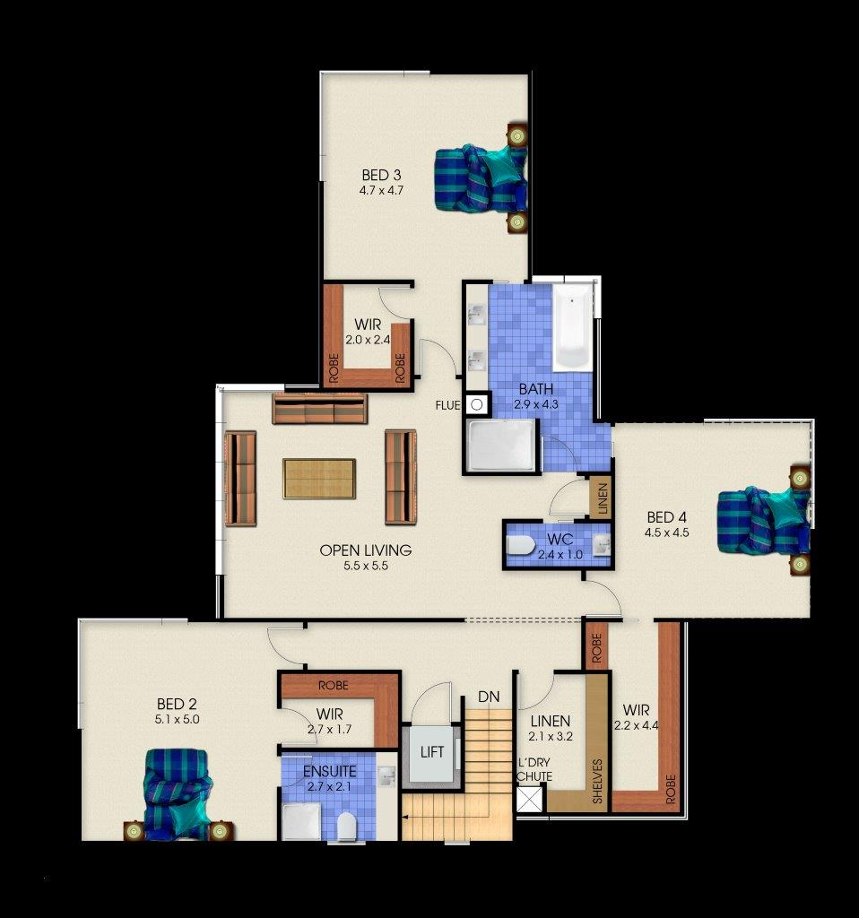 3 Storey Plenty - Second Floor Plan